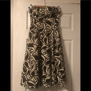 Strapless brown and cream tabitha dress
